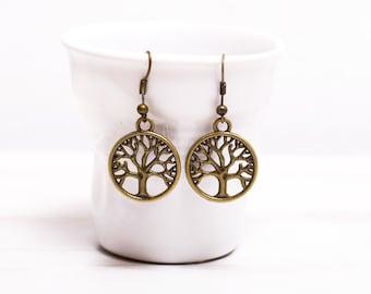 Elendil Elven Tree Earrings, Yoga earrings,  Antique Brass Earrings, Gift for her,  tree jewelery