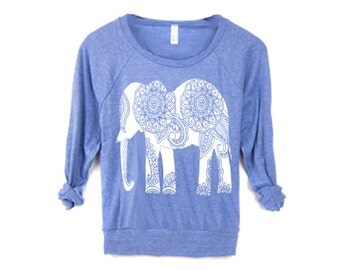 WOMEN ELEPHANT Screen Print Top American Alternative apparel long sleeve S M L XL More Colors