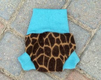 Upcycled Wool Newborn Soaker Diaper Cover Shorties - Cheetah Print