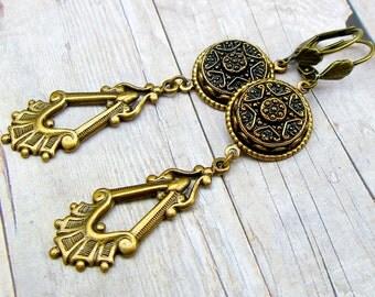 Gilded Star - Czech glass button dangle earrings