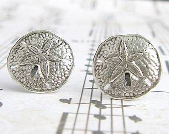 Antique Silver Sand Dollar surgical steel post earrings, summer, vacation, beach ocean jewelry