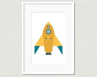 Modern rocket print, rocket art, yellow rocket, modern nursery art, nursery decor, kids room decor, colorful nursery art, modern kids art