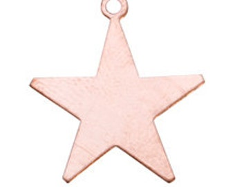 Copper Blanks Star With Ring 1 Inch 18ga Pkg Of 6