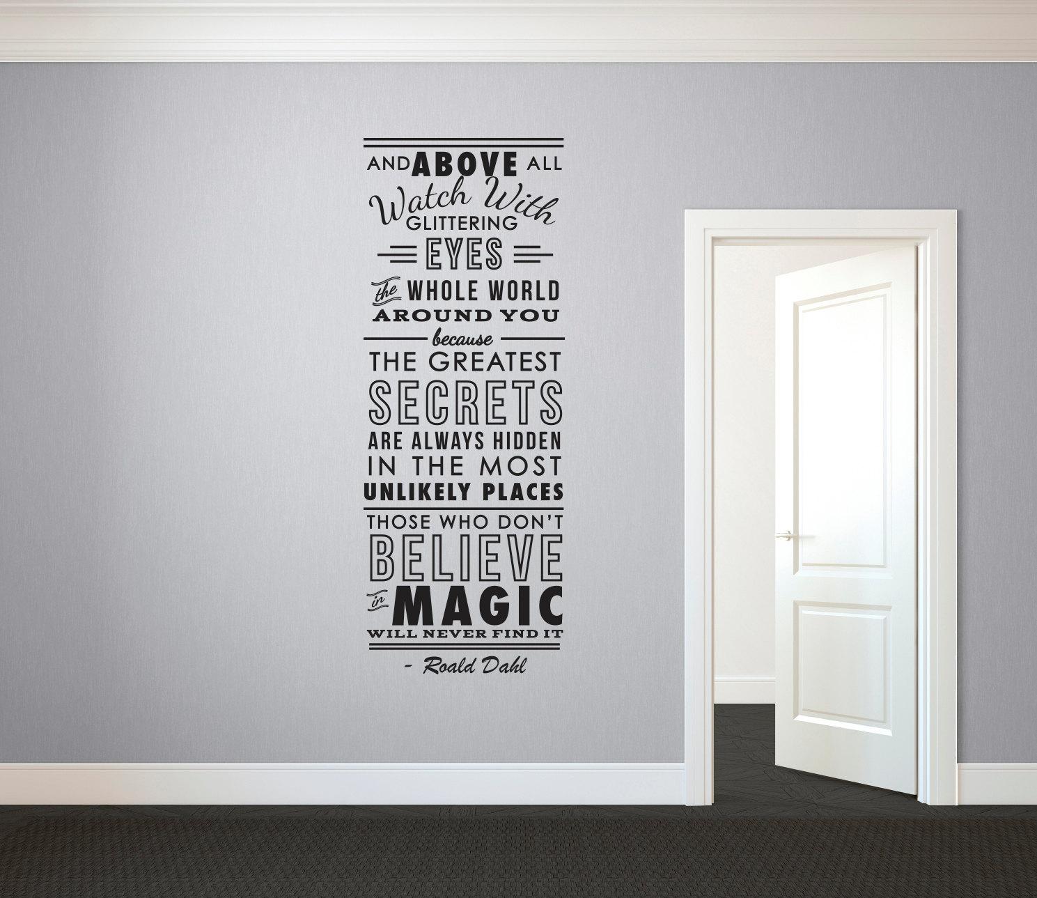 Wall Art Decals Custom : Roald dahl believe in magicquote wall decal custom vinyl art
