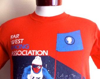 vintage 80's Far West Racing Association 1989 Ski Championships Mammoth Mountain California red graphic t-shirt red white blue skier medium