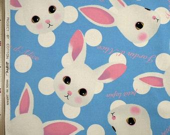 Rabbits and Dots Design Fabric Blue Cotton Kobayashi Japanese Fabric - 110cm x 50cm