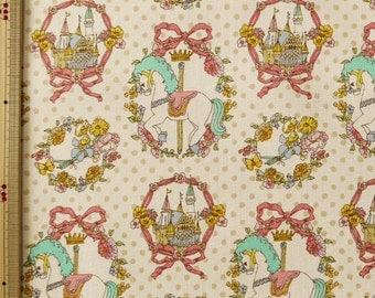 Cute Merry Go Round Horse Castle Print Japanese Fabric Ivory - 110cm x 50cm