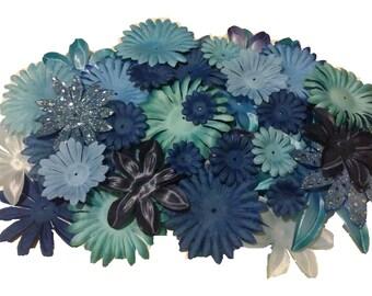 100 Flower Petals-Mix Color Lot-Blue's-Royal, Turquoise, Lt. Blue, Blue