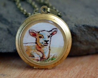 psalm 23 locket necklace, hand painted