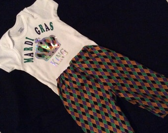 Mardi Gras King boy shirt and pant