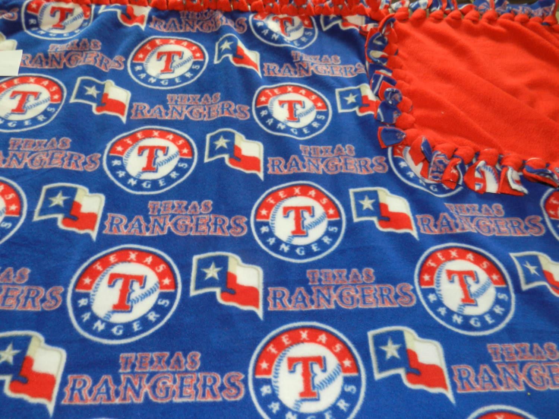 Mlb Texas Rangers Fleece Tie Blanket X Large
