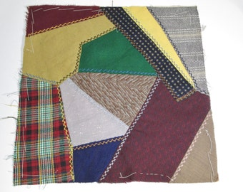 Crazy Quilt Block From Maine • Crazy Quilt Square in Tan, Brown, Yellow & Green Wool TBY1