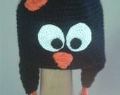 penguin hat - black beanie earflaps braided ties white orange beak bird costume accessory young child photography prop-Customizable Colors