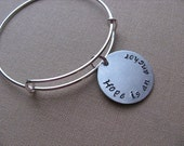 """SALE- Hand-Stamped Bangle Bracelet- """"Hope is an anchor"""" - ONLY 1 Available"""