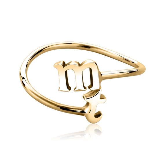 alphabet rings stackable initial rings 14k by