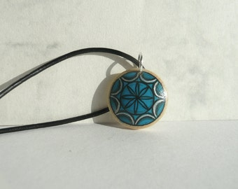 Blue Pendant, Hand Painted Pendant, Tiny Necklace Leather Cord Necklace, Hand Painted Jewelry Wooden Pendant, Art Jewelry by Artdora