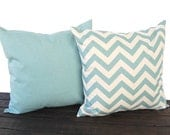Throw pillows, Cushion Covers, Pillow Shams chevron zig zag and solid blue decorative pillow cover - pale smokey blue and natural