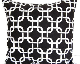 Decorative pillow cover black and white geometric pillow sham cushion cover Gotcha Links modern decor
