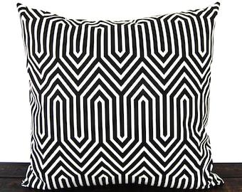 Throw pillow cover black white geometric cushion cover pillow sham Trail in black