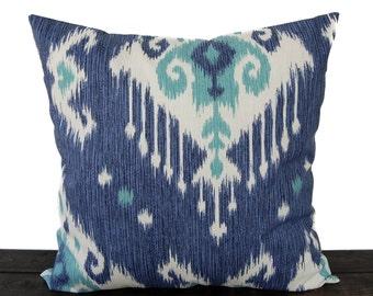 Throw pillow cover blue cushion cover Ikat pillow case blue jade natural tan Dakatoa Ocean