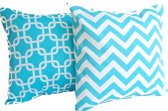 Throw pillow covers set of two Girly Blue Aqua and white chevron and Gotcha Cushion Cover Pillow Shams