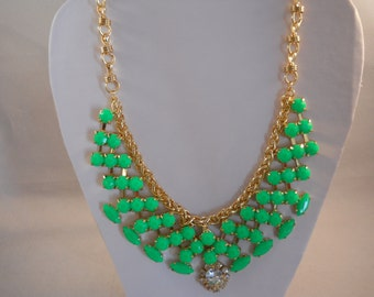 SALE Bib Necklace with Gold tone and Green beads Pendant on a gold tone chain
