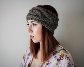 Cable Knit Headband // Knit Headbnad // Ear Warmer // Cozy Slip-on Accessory // Taupe // Pinterest Fashion