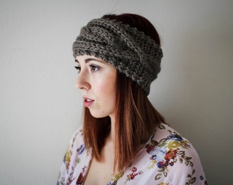 Cable Knit Headband // Knit Headbnad // Ear Warmer // Cozy Slip-on Accessory // Taupe // Pinterest Fashion