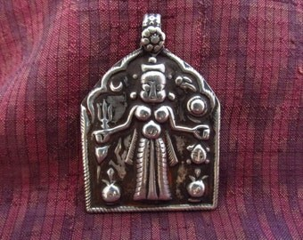 Large Antique Silver Kali Hindu Amulet