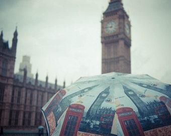 Westminster Rain, London. Photography print.