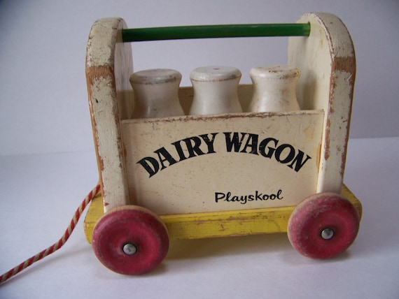 Toy antique wooden toy milkman wooden playskool toy vintage wood