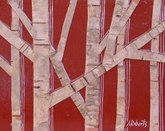 50% Off SALE Birch Bark Original Collage Painting, Small Format Art, Birch Painting, Birch Collage