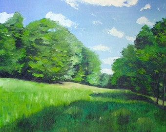 Emerald Green Landscape, Limited Edition Giclee Print, Home Decor, Emerald Print, Landscape Print