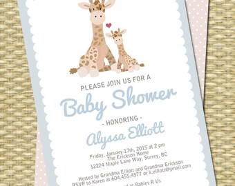 Baby Boy Shower Invitation Baby Giraffe and Mom Any Event Any Color Scheme Baby Girl Baby Boy Gender Neutral Blue Pink Taupe