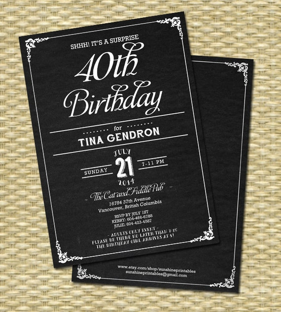 40th birthday invitation chalkboard birthday invitation adult il570xn filmwisefo