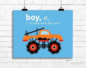 boy, a noise with dirt on it, monster truck art print, monster truck decor, baby boy nursery, boy bedroom art print, kids art, truck art