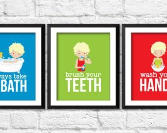 Boys bathroom rules, brush your teeth, take a bath, wash your hands, bathroom kids art, funny bathroom posters, kids art, kids decor