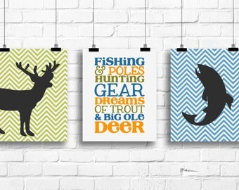 Fishing hunting art prints, boys deer decor, deer wall decor, deer nursery art, fishing nursery decor, deer antlers prints, antlers art