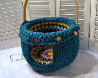 Crochet Cat Cave Pet Bed Upcycled Basket Teal Green Blue Granny Square Handmade Littlestsister