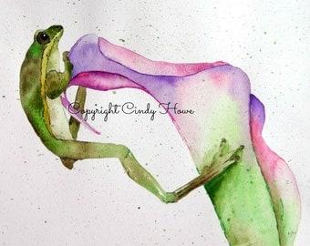Digital art, digital download, frog, flower, frog art, frog on flower, green frog, calla lily