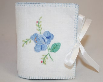 Blue Rose Embroidered Needle Book - Flower Motif recycled from vintage table linen with stitching by Lynwoodcrafts