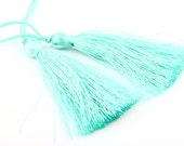Dark Aqua, Silk Thread Tassels, 2 pieces - Jewelry Supplies  // TAS-016