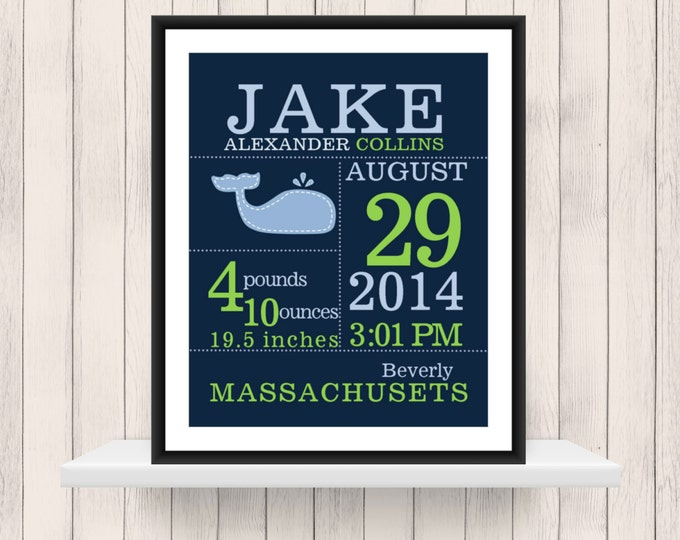 Baby Boy Whale Birth Announcement Digital PDF