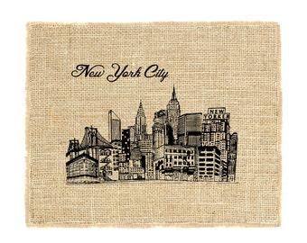 New York City Skyline Unframed, NYC Skyline Art, NYC Print, Burlap art, burlap wall art