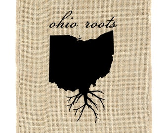 Ohio Roots Unframed Wall Art, Burlap Prints, Burlap Art, Custom state roots, State outline
