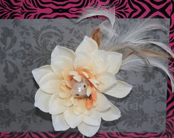 Peach/Ivory Hair Flower with Feather Accents and faux diamond center