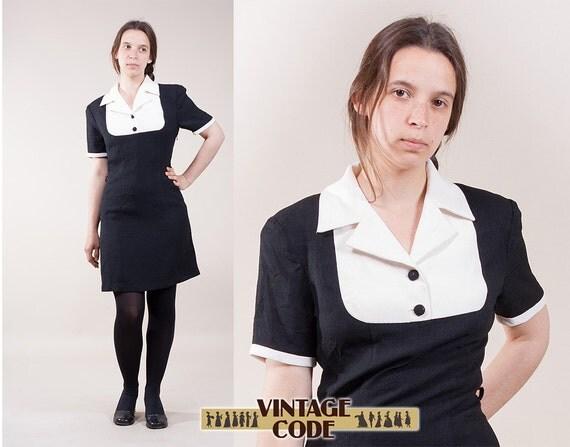 black white mini dress office secretary dress black white crepe