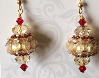 Elegant Beaded Bead Earrings with Gold Filled French Hooks