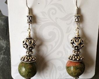 Bali Sterling Silver and Unakite Dangle Earrings