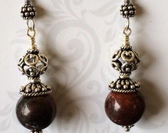 Jasper and Bali Sterling Silver Earrings